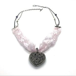 Lacy Heart Necklace (Handmade)